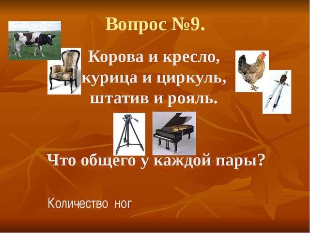 Вопрос №9. Корова и кресло, курица и циркуль, штатив и рояль. Что общего у ка...