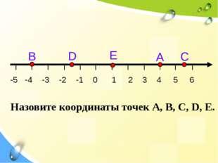 С А E D В -5 -4 -3 -2 -1 0 1 2 3 4 5 6 Назовите координаты точек А, В, С, D,