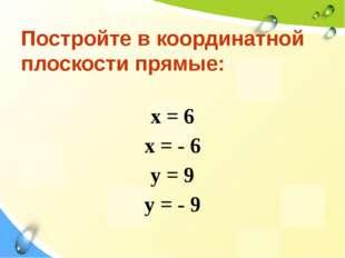 Постройте в координатной плоскости прямые: х = 6 х = - 6 y = 9 y = - 9