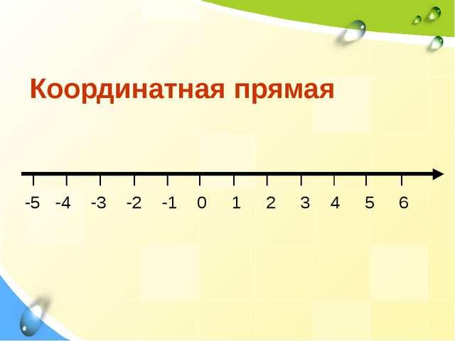 Координатная прямая -5 -4 -3 -2 -1 0 1 2 3 4 5 6