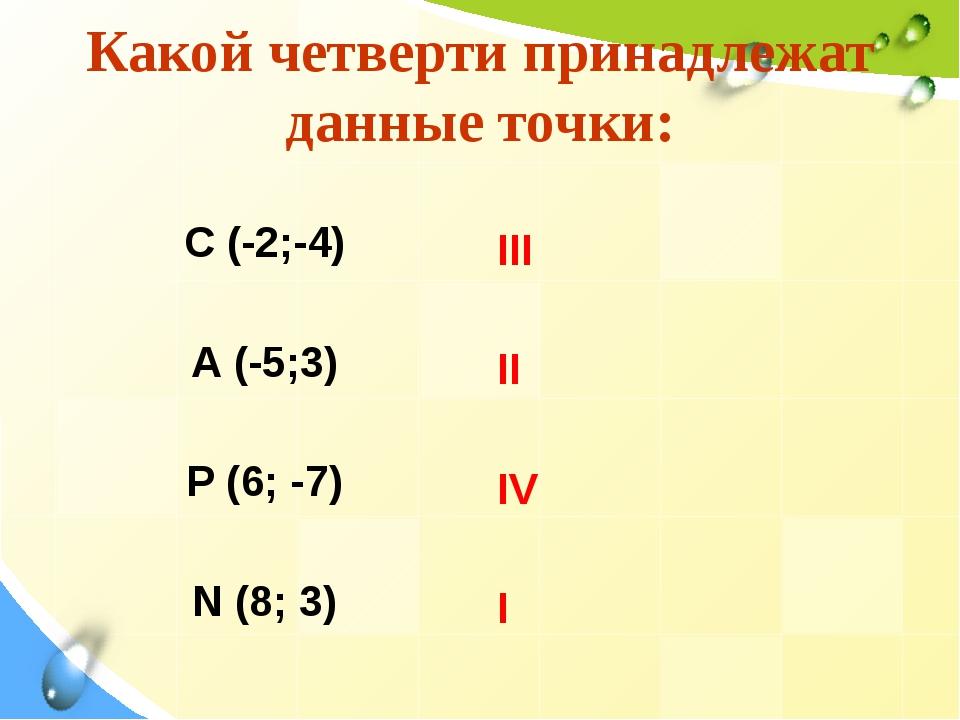Какой четверти принадлежат данные точки: С (-2;-4) А (-5;3) Р (6; -7) N (8; 3...