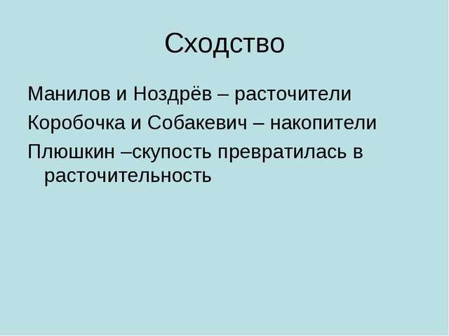 Сходство Манилов и Ноздрёв – расточители Коробочка и Собакевич – накопители П...