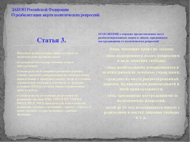 Статья 3. Подлежат реабилитации лица, которые по политическим мотивам были: а...