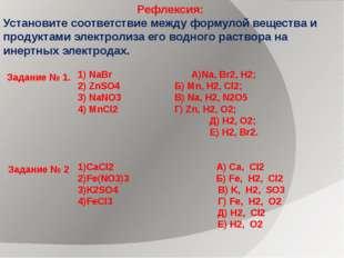Рефлексия: Установите соответствие между формулой вещества и продуктами элект