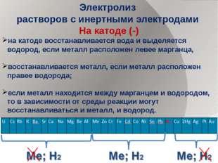 Электролиз растворов с инертными электродами На катоде (-) на катоде восстана