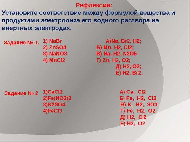 Рефлексия: Установите соответствие между формулой вещества и продуктами элект...