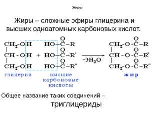 Жиры Жиры – сложные эфиры глицерина и высших одноатомных карбоновых кислот. О