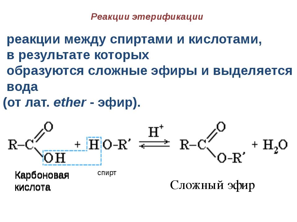 Реакции этерификации реакции между спиртами и кислотами, в результате которых...