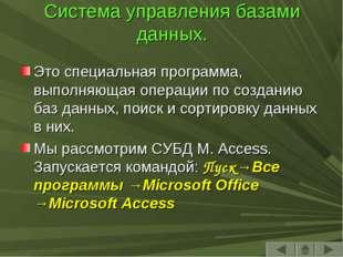Система управления базами данных. Это специальная программа, выполняющая опер