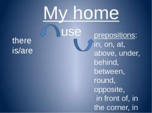 My home use prepositions: in, on, at, above, under, behind, between, round, o