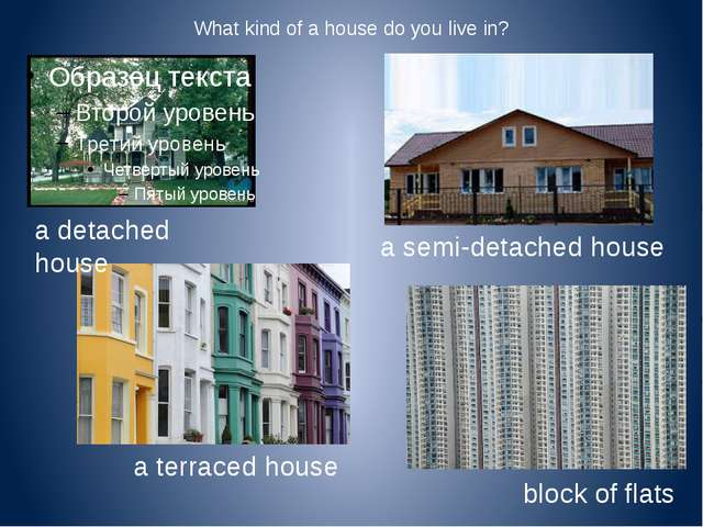 What kind of a house do you live in? a semi-detached house a detached house a...