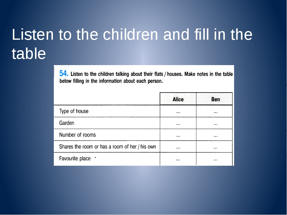 Listen to the children and fill in the table