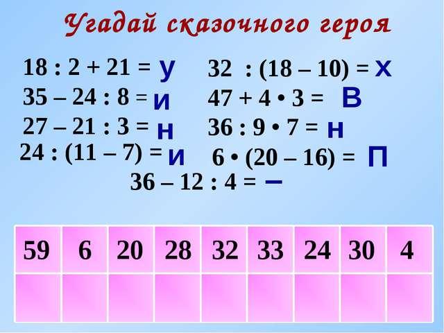4 Угадай сказочного героя 18 : 2 + 21 = 35 – 24 : 8 = 27 – 21 : 3 = 36 – 12 :...