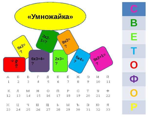 9х2=? 4х4=? 2х3=? 6х3+4=? 2х2-1=? 9х2+1=? 5х4=? 8х2=? «Умножайка» С В Е Т О Ф...