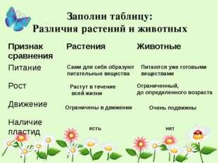 Заполни таблицу: Различия растений и животных Сами для себя образуют питатель