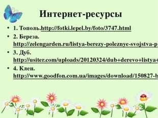 Интернет-ресурсы 1. Тополь.http://fotki.lepel.by/foto/3747.html 2. Береза. ht