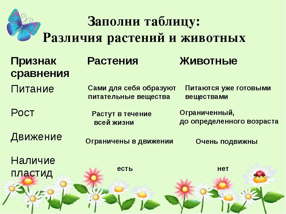 Заполни таблицу: Различия растений и животных Сами для себя образуют питатель...