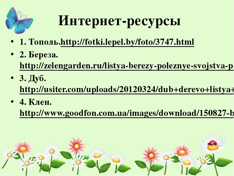 Интернет-ресурсы 1. Тополь.http://fotki.lepel.by/foto/3747.html 2. Береза. ht...