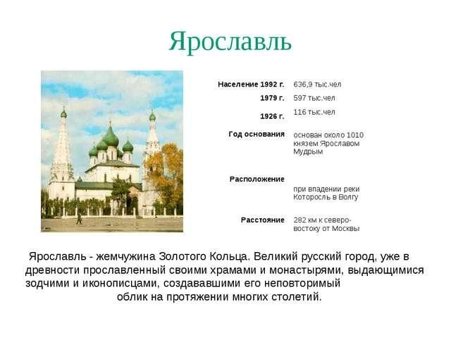 Ярославль Ярославль - жемчужина Золотого Кольца. Великий русский город, уже в...