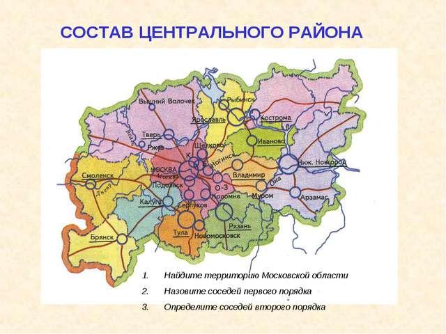 СОСТАВ ЦЕНТРАЛЬНОГО РАЙОНА Найдите территорию Московской области Назовите сос...
