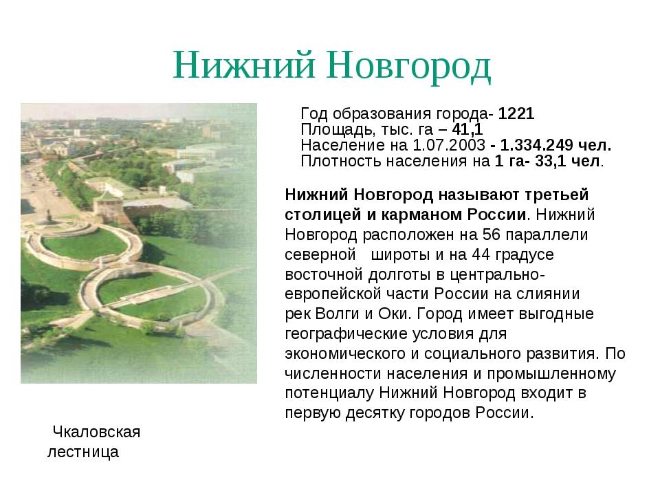 Нижний Новгород Чкаловская лестница Год образования города- 1221 Площадь, тыс...