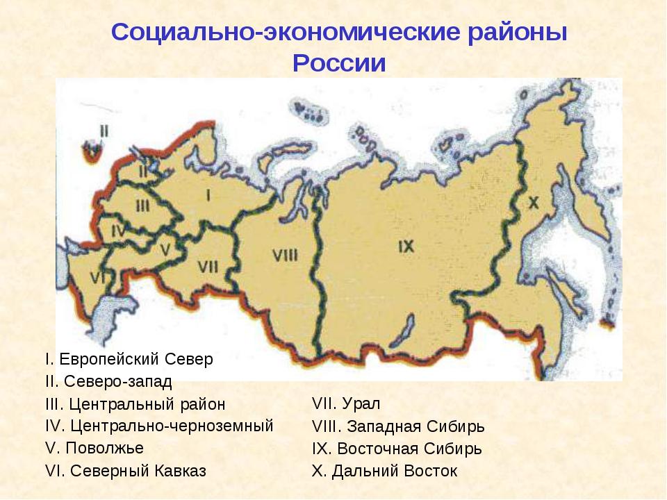 Социально-экономические районы России I. Европейский Север II. Северо-запад I...