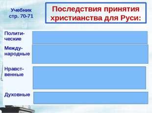 Последствия принятия христианства для Руси: Учебник стр. 70-71 Полити- ческие