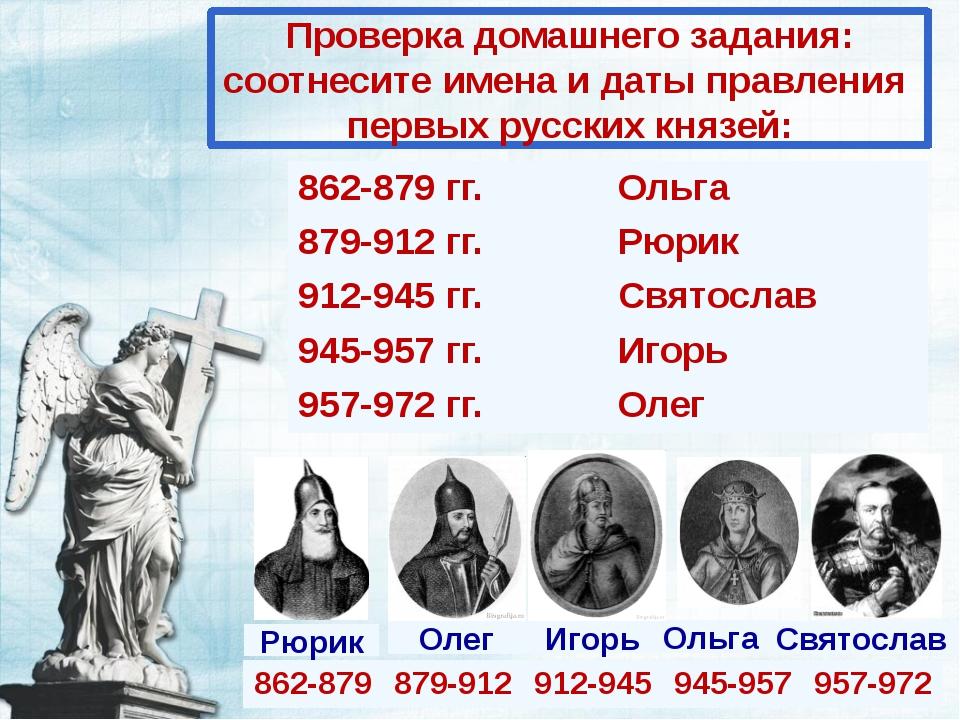 Проверка домашнего задания: соотнесите имена и даты правления первых русских...