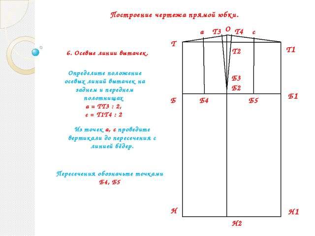 Построение чертежа прямой юбки. Т Б Н Б1 Т1 Н1 Б2 Т2 Н2 О Т3 Т4 Б3 6. Осевые...