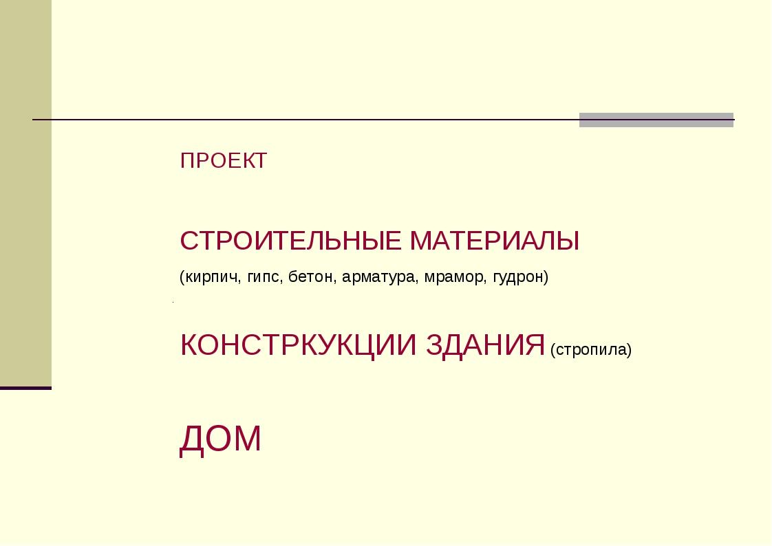 ПРОЕКТ СТРОИТЕЛЬНЫЕ МАТЕРИАЛЫ (кирпич, гипс, бетон, арматура, мрамор, гудрон)...