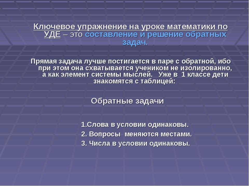 Ключевое упражнение на уроке математики по УДЕ – это составление и решение о...