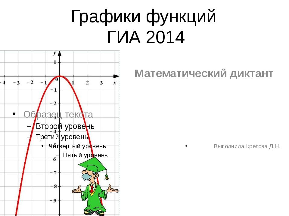 Графики функций ГИА 2014 Математический диктант Выполнила Кретова Д.Н.