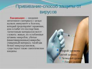 Прививание-способ защиты от вирусов Вакцинация — введение антигенного материа