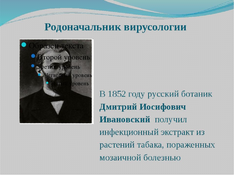 Родоначальник вирусологии В 1852 году русский ботаник Дмитрий Иосифович Ивано...