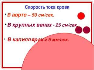 Скорость тока крови В аорте – 50 см/сек. В крупных венах - 25 см/сек. В капи