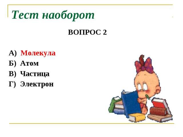 ВОПРОС 2 А) Молекула Б) Атом В) Частица Г) Электрон Тест наоборот