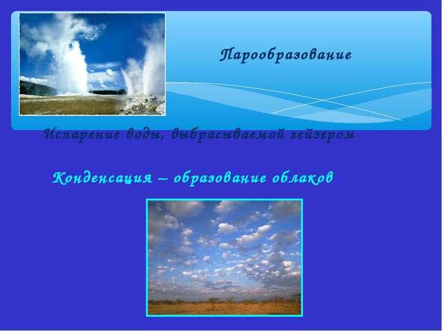Парообразование Испарение воды, выбрасываемой гейзером Конденсация – образов...