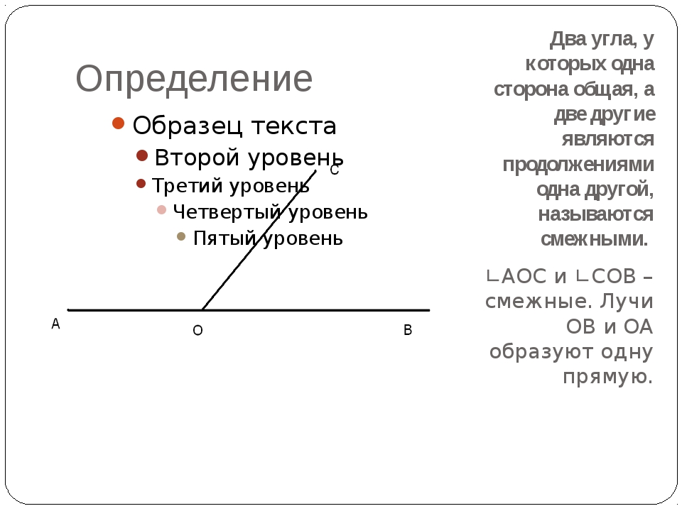 Определение Два угла, у которых одна сторона общая, а две другие являются про...