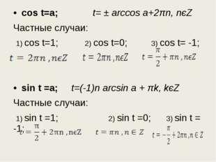 cos t=a; t= ± arccos a+2πn, nєZ Частные случаи: 1) cos t=1; 2) cos t=0; 3) co