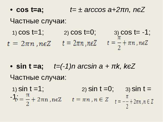 cos t=a; t= ± arccos a+2πn, nєZ Частные случаи: 1) cos t=1; 2) cos t=0; 3) co...