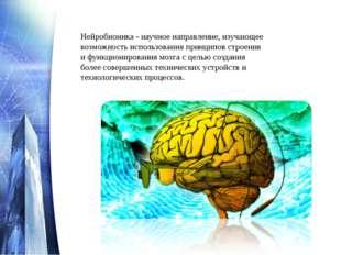 Нейробионика - научное направление, изучающее возможность использования принц