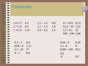 Разминка 1,8+2,5 2,7+1,6 5 +0,35 2,5 – 1,6 3,2 – 1,4 3,4 – 0,2 0,3 • 3 6,66 :