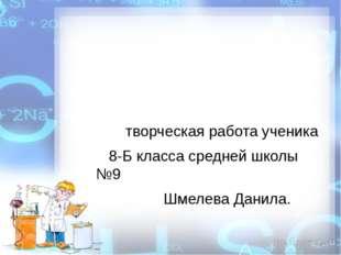 творческая работа ученика 8-Б класса средней школы №9 Шмелева Данила.