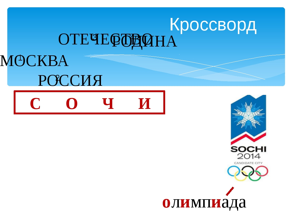 Кроссворд МОСКВА РОССИЯ ОТЕЧЕСТВО РОДИНА С О Ч И олимпиада 3 4 1 2