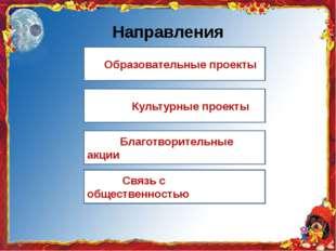 Направления Образовательные проекты Культурные проекты Благотворительные акци