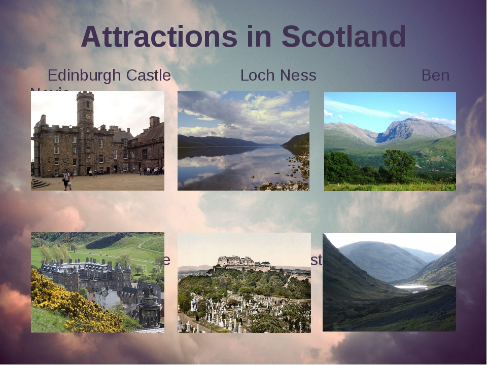 Attractions in Scotland Edinburgh Castle Loch Ness Ben Nevis Holyrood Palace...