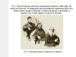 Участие в московской переписи Л.Н.Толстой принял участие в московской переп