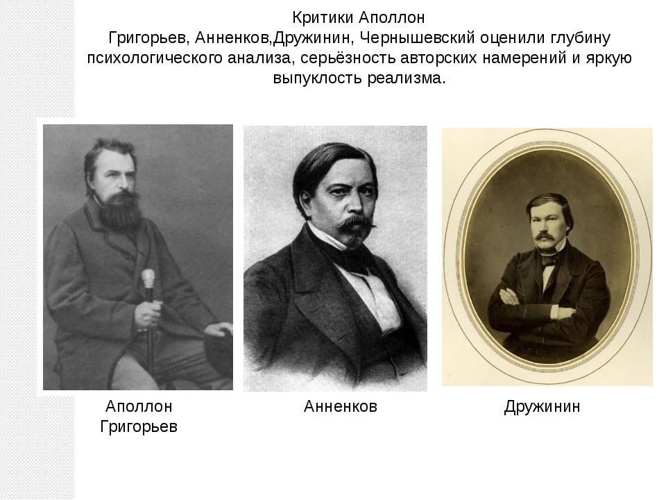 КритикиАполлон Григорьев,Анненков,Дружинин,Чернышевскийоценили глубину пс...