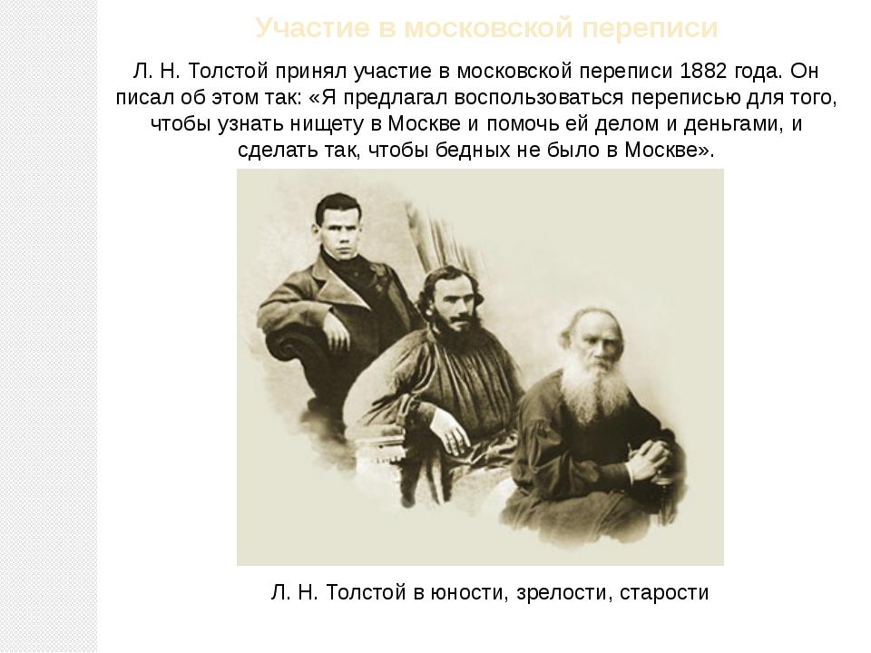 Участие в московской переписи Л.Н.Толстой принял участие в московской переп...