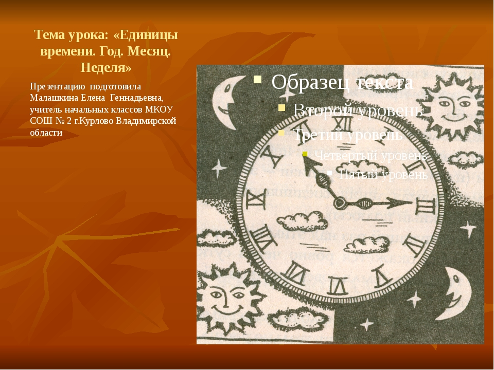 Тема урока: «Единицы времени. Год. Месяц. Неделя» Презентацию подготовила Мал...